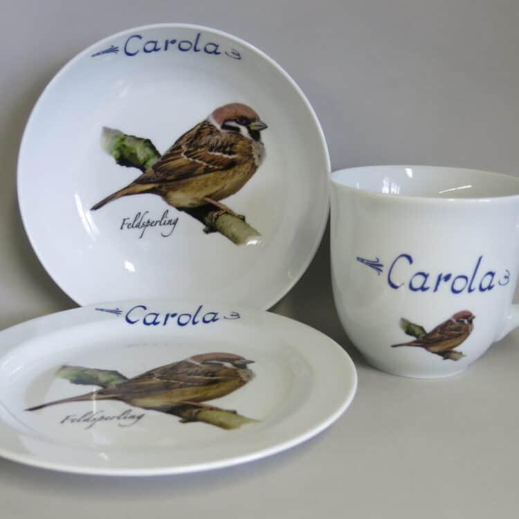 Frühstücksgeschirr Porzellan Set großer Becher 400ml, tiefe Schale 18cm und flacher Teller 19cm mit Feldsperling und Namen