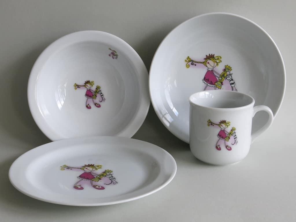 Frühstücksgeschirr Porzellan Set, kleiner Becher 230ml, Müslischüssel 16cm, tiefe Schale 18cm und flacher Teller 19cm mit Prinzessin Mia