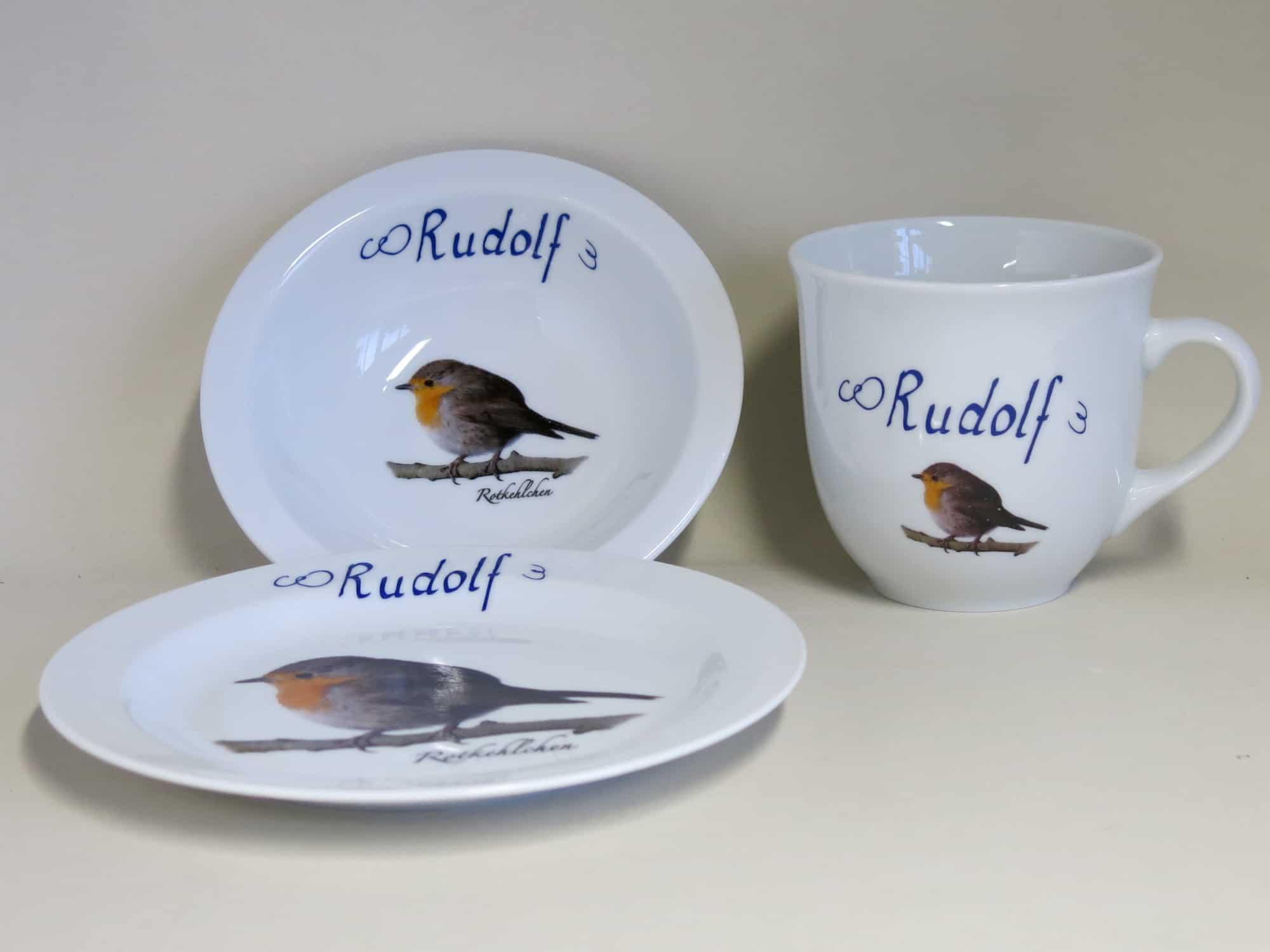 Frühstücksgeschirr Porzellan Set großer Becher 400ml, Müslischüssel 16cm und flacher Teller 19cm mit Rotkehlchen und Namen