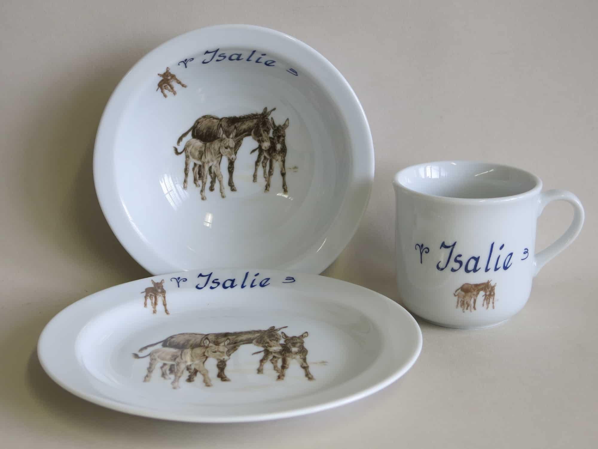Kindergeschirr Porzellan Set kleiner Becher 230ml, Müslischüssel 16cm und flacher Teller 19cm mit Esel und Namen