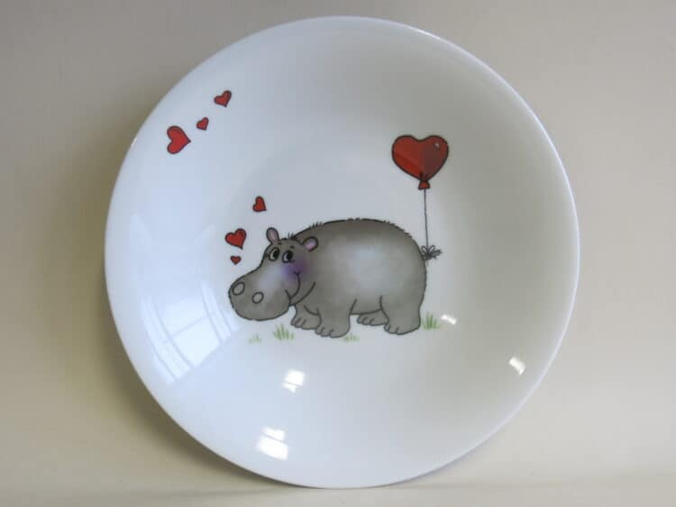 Kindergeschirr Porzellan tiefer Teller 22cm mit Nilpferd Herz