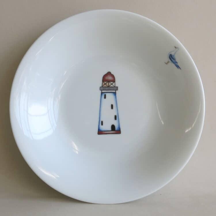 Essgeschirr Porzellan tiefer Teller 22cm mit Leuchtturm rot