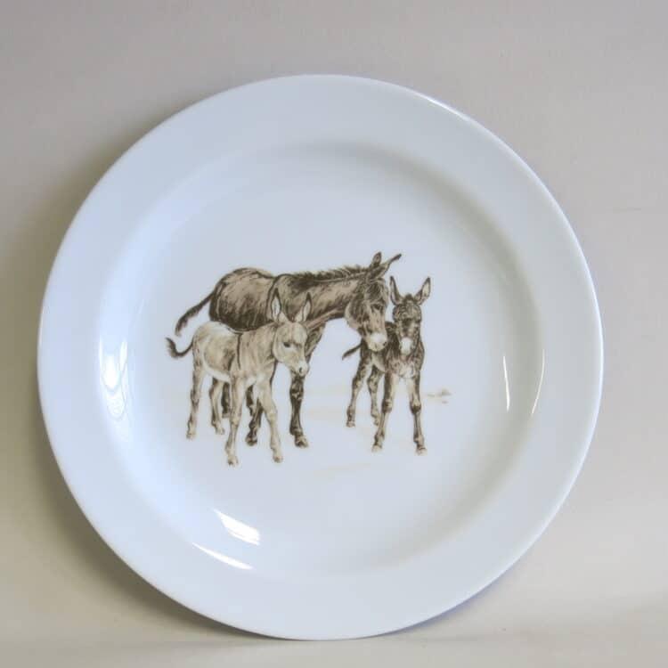 Frühstücksgeschirr Porzellan flacher Teller 19cm mit Esel