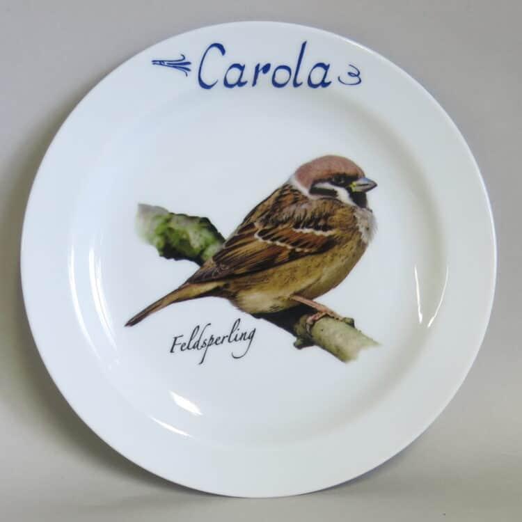 Frühstücksgeschirr Porzellan flacher Teller 19cm mit Feldsperling und Namen