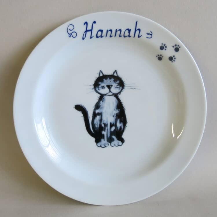Kindergeschirr Porzellan flacher Teller 19cm mit Katze Lilli und Namen