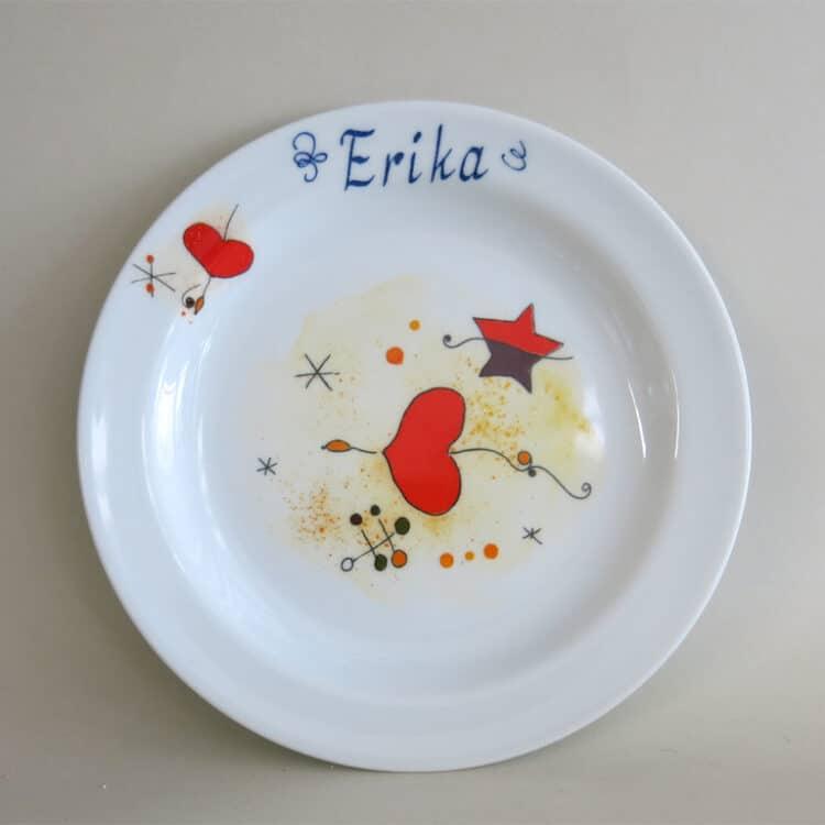 Kindergeschirr Porzellan flacher Teller 19cm mit Miro Herz und Namen