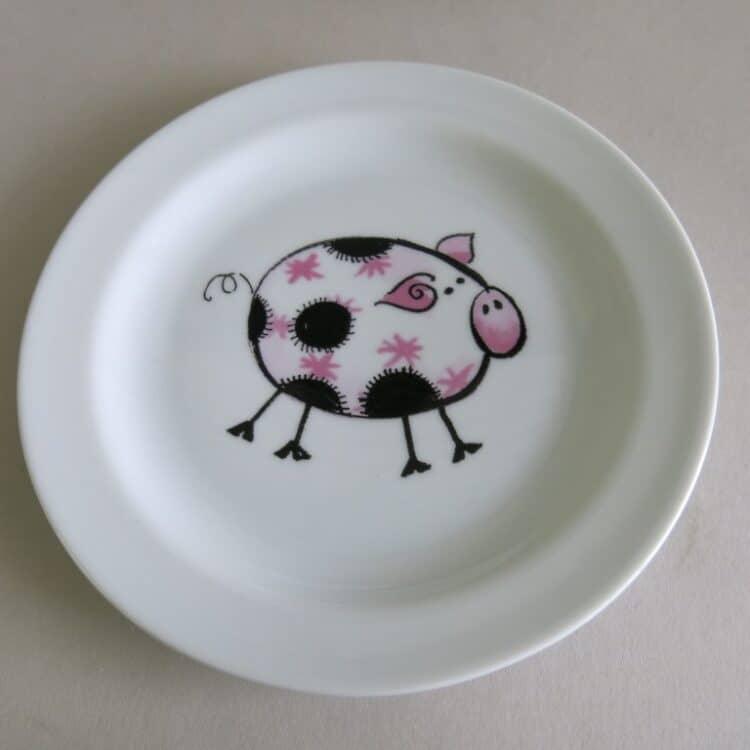 Kindergeschirr Porzellan flacher Teller 19cm Farm kunterbunt Schweinchen Rosa