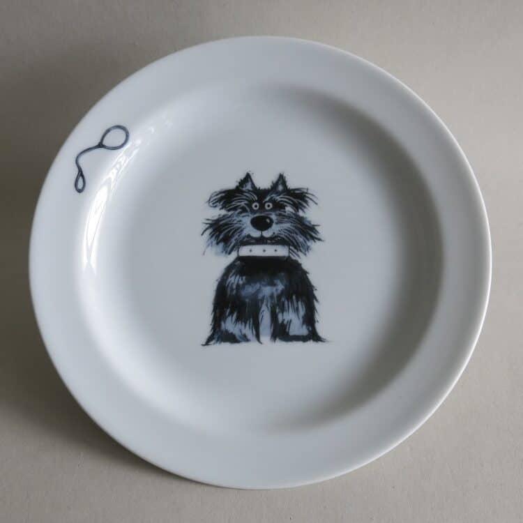 Kindergeschirr Porzellan flacher Teller 19cm mit Terrier Fiffi