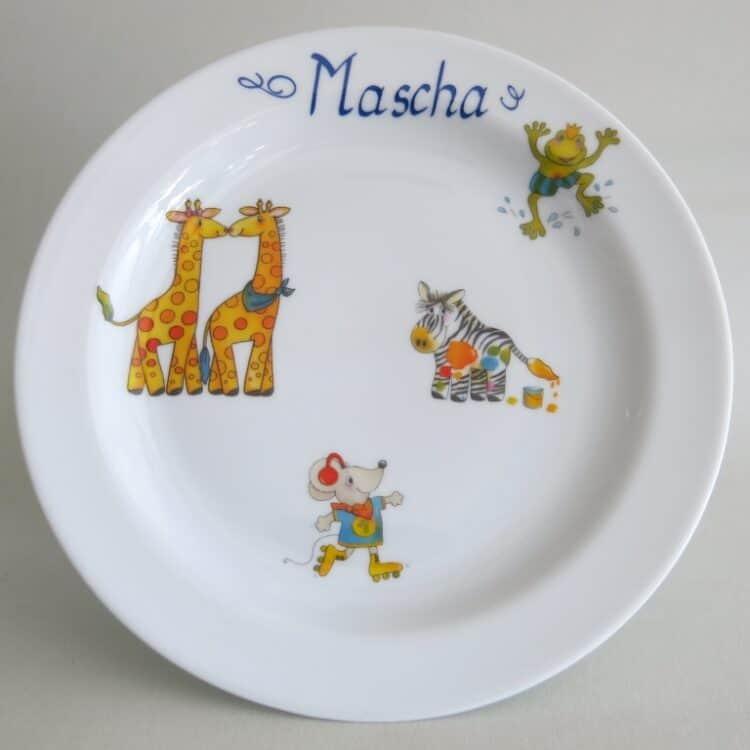 Weißer Teller aus Porzellan 19 cm mit Namen und Froschkönig, Giraffenpaar, Maus und Zebra