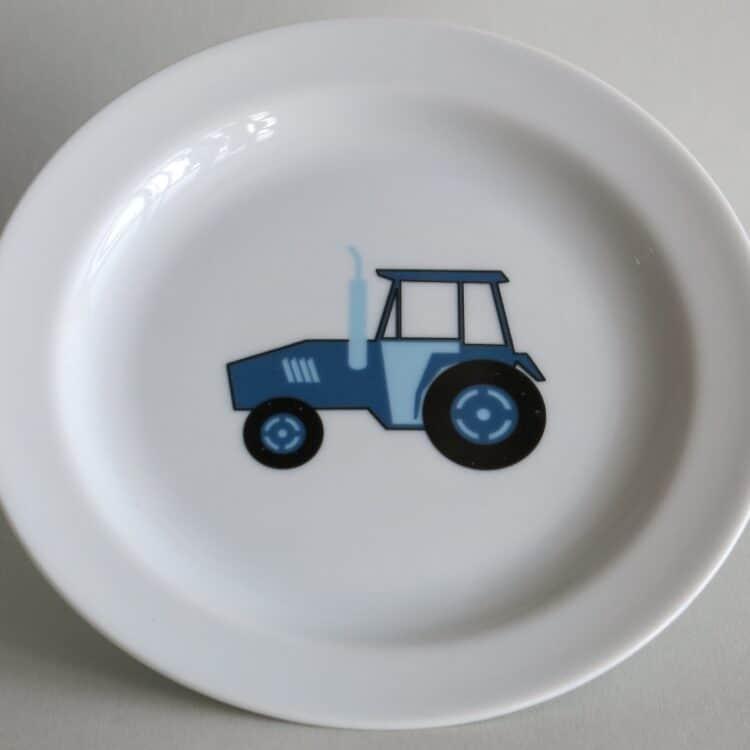 Kindergeschirr Porzellan flacher Teller 19cm mit blauem Traktor