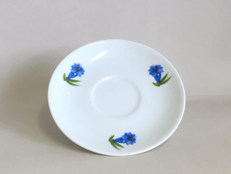 Unterteller glatt drei blaue Enzianblüten