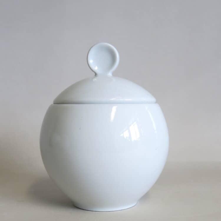 Weiße, runde Zuckerdose Venus aus Porzellan 2000