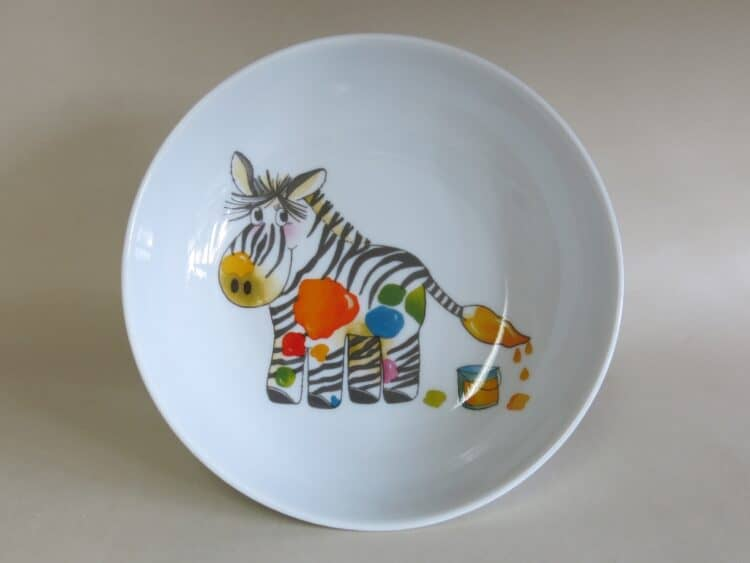 Kindergeschirr Porzellan tiefe Schale 18cm mit Zebra