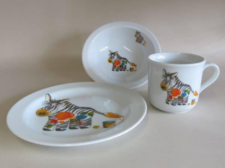 Kindergeschirr Porzellan Set, kleiner Becher 230ml, Müslischüssel 16cm und flacher Teller 19cm mit Zebra