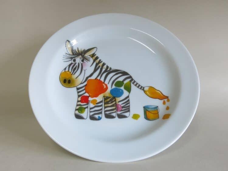 Kindergeschirr Porzellan flacher Teller 19cm mit Zebra