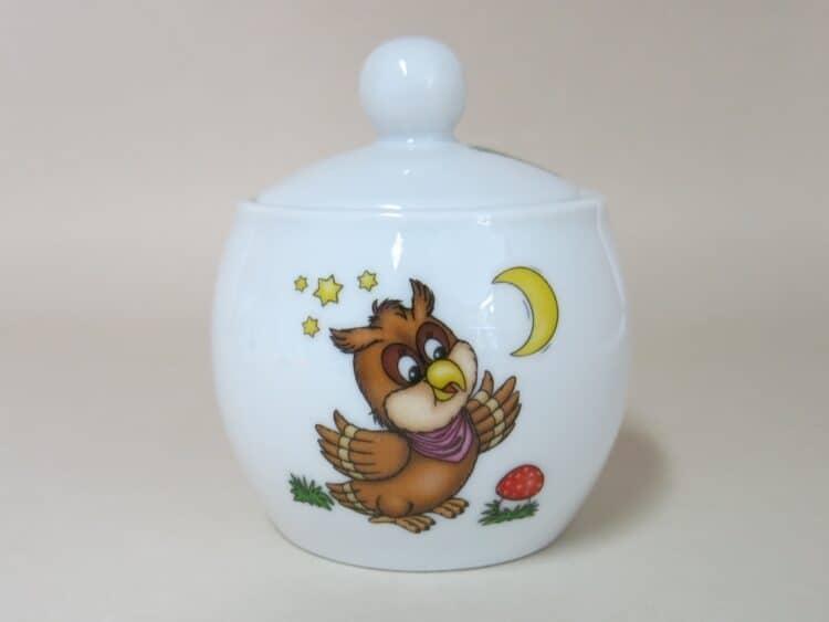 Porzellan Zuckerdose Eule für Kindergärten