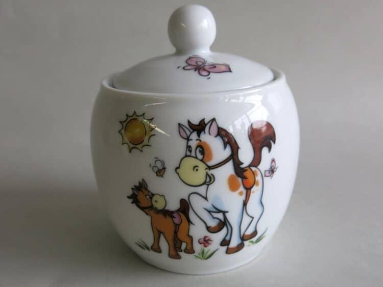 Zuckerdose mit Pferdchen und Pony