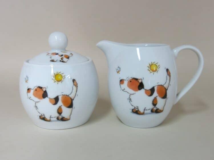 Frhstücksgeschirr Porzellan Milchgießer 0,25l und Zuckerdose 0,25ml mit Hund und Biene