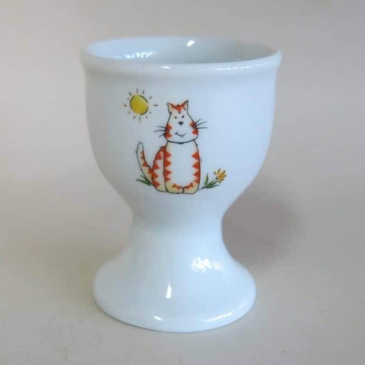 Porzellaneierbecher mit Katze und Sonne