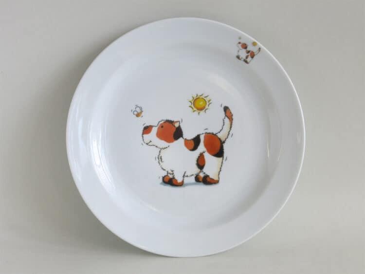 Essteller 24 cm aus weißem Porzellan mit Hund und Bienchen
