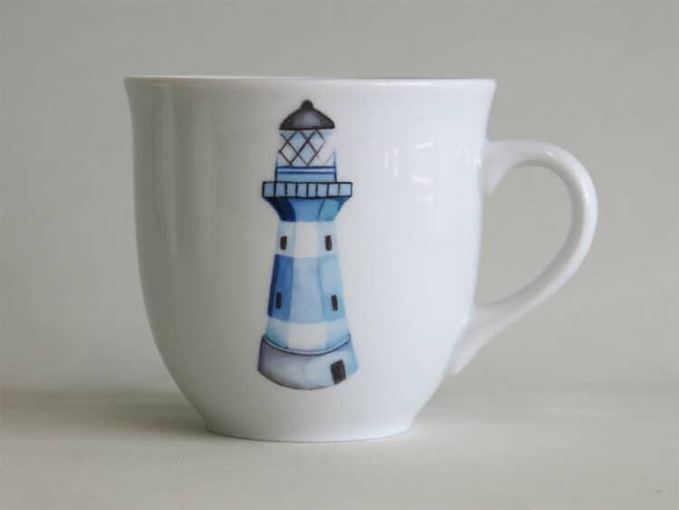 Frühstücksgeschirr Porzellan großer Becher 400ml mit blauem Leuchtturm
