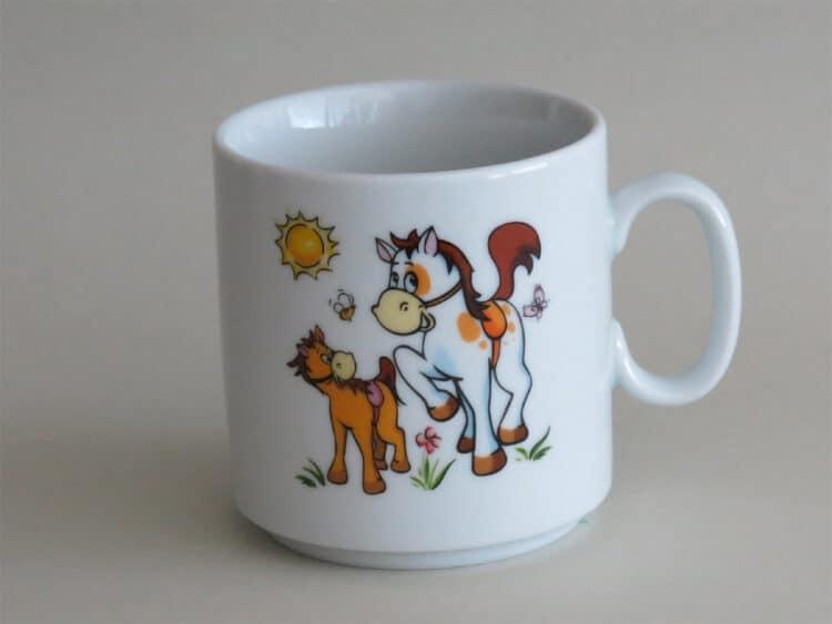 Frühstücksgeschirr Porzellan gerader Becher 260ml mit Pferd und Pony