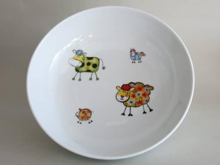 Kindergeschirr Porzellan tiefe Schale 18cm mit Farm kunterbunt alle Farben