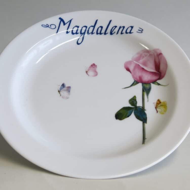 Frühstücksgeschirr Porzellan flacher Teller 19cm mit rosa Rose und Schmetterlingen und Namen