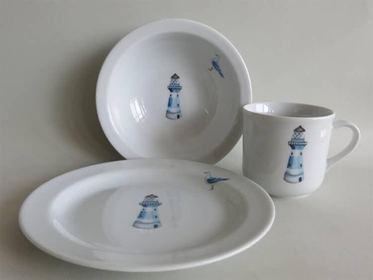 Kindergeschirr Porzellan Set kleiner Becher 230ml, Müslischüssel 16cm und flacher Teller 19cm mit blauem Leuchtturm
