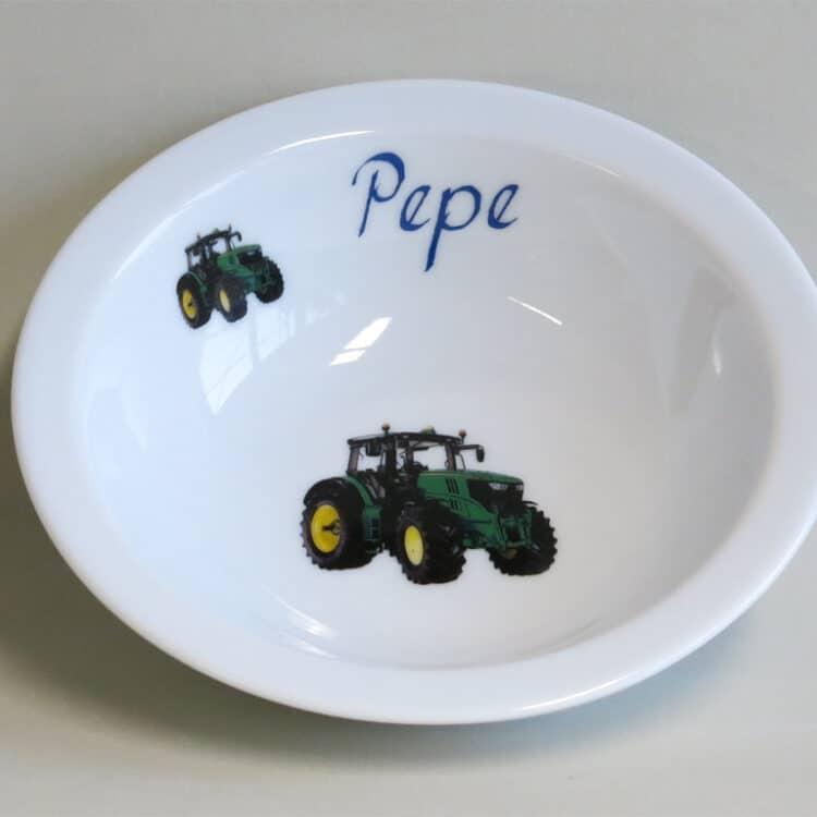 Kindergeschirr Porzellan Müslischüssel 16cm mit grünem Traktor und Namen