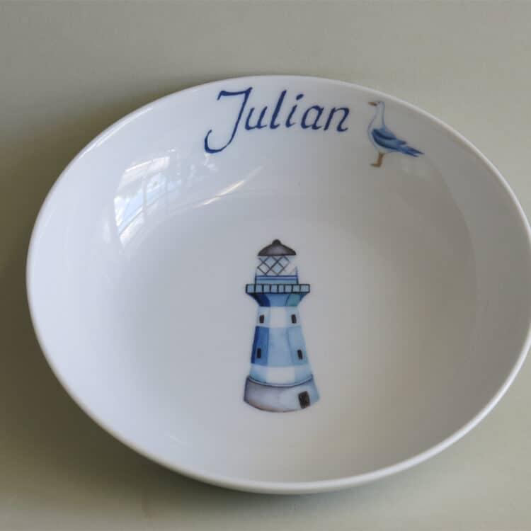 Kindergeschirr Porzellan tiefe Schale 18cm mit blauem Leuchtturm und Namen