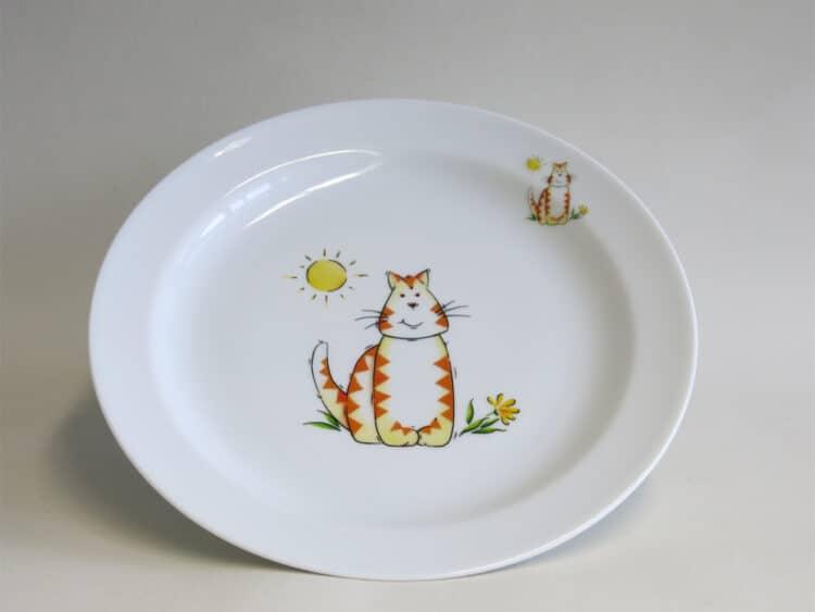 Kindergeschirr Porzellan flacher Teller 24cm mit Katze und Sonne