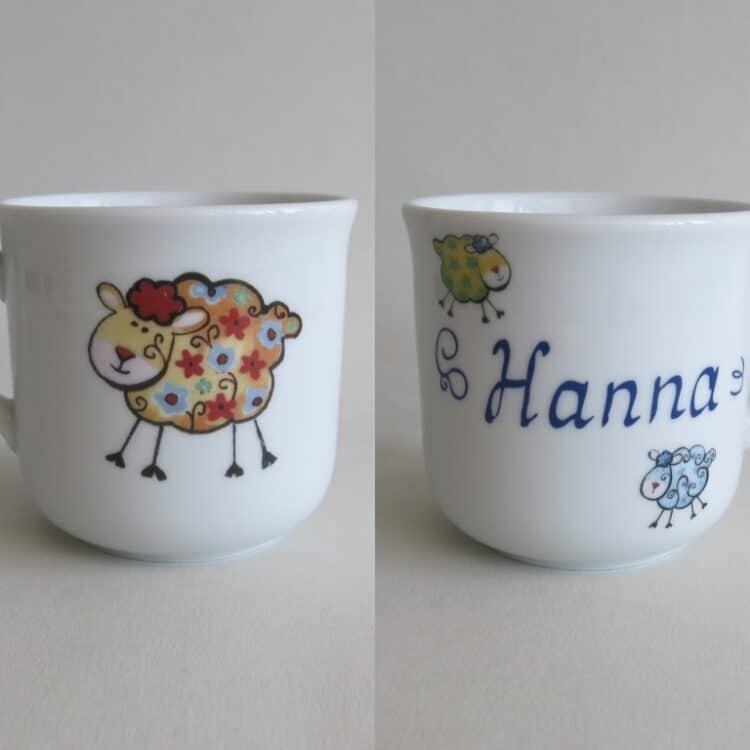 Kindergeschirr Porzellan kleiner Becher 230ml mit kunterbunten Schäfchen alle Farben und Namen