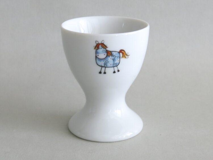 Frühsücksgeschirr Porzellan hoher Eierbecher mit blauem Pferd Betty