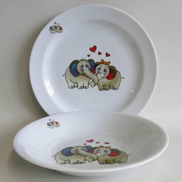 flacher Teller 24cm und tiefer Suppenteller 22cm mit Elefantenpaar