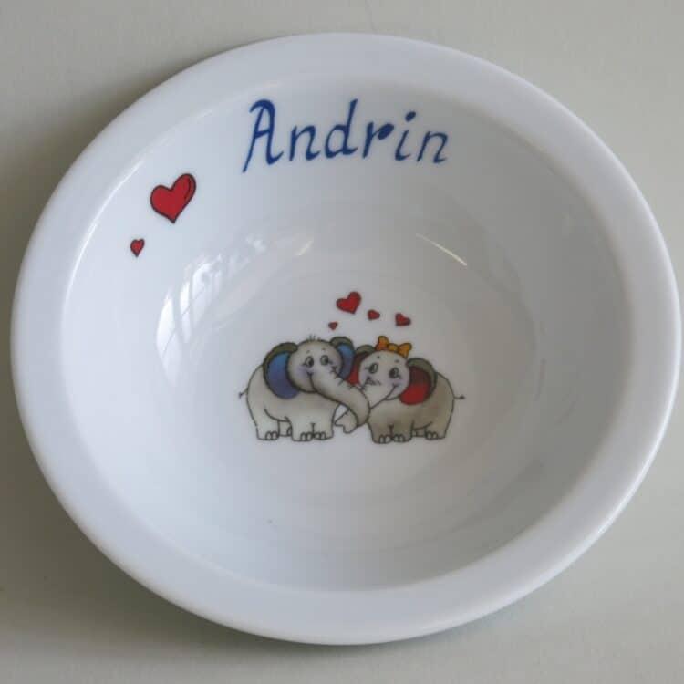 Kindergeschirr Porzellan Müslischüssel 16cm mit Elefantenpaar und Namen ohne Schnörkel