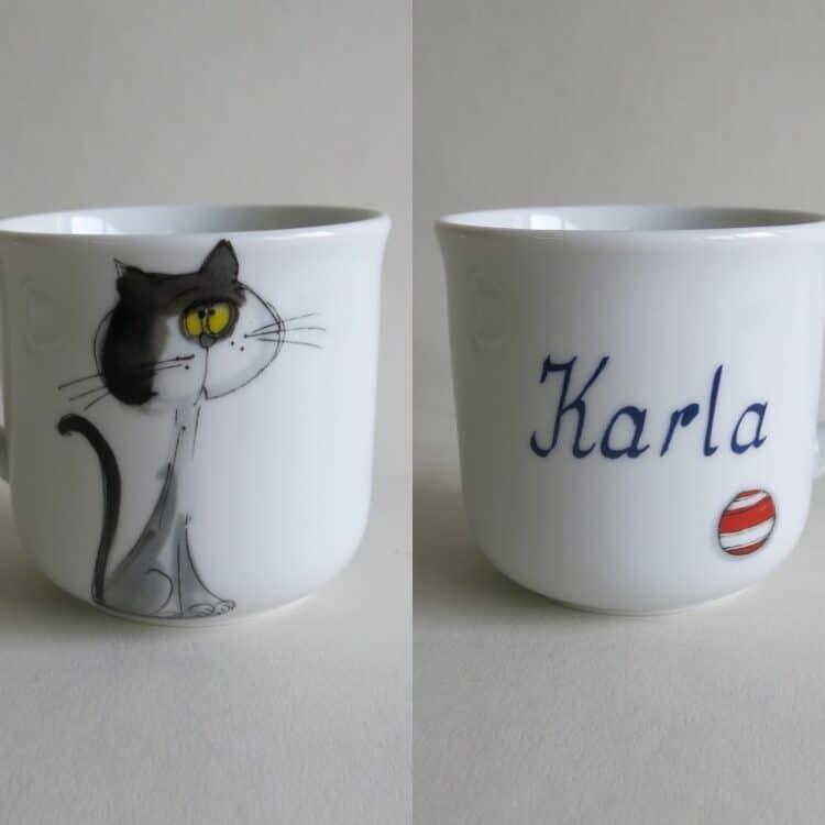 Kindergeschirr Porzellan kleiner Becher 230ml mit Katze Mausi und Namen