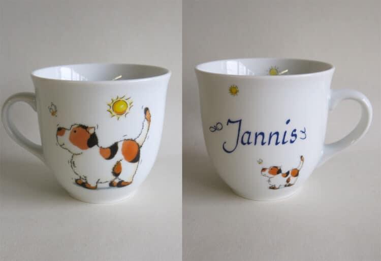 Frühstücksgeschirr Porzellan großer Becher Mirek mit Hund mit Biene personalisiert