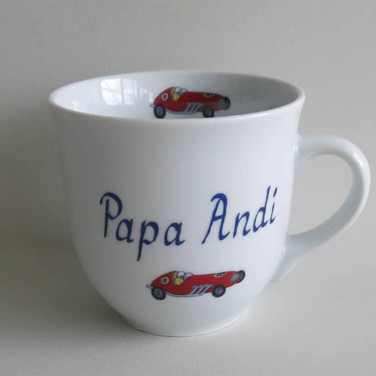 Frühstücksgeschirr Porzellan großer Becher 400ml mit rotem Rennauto und Namen