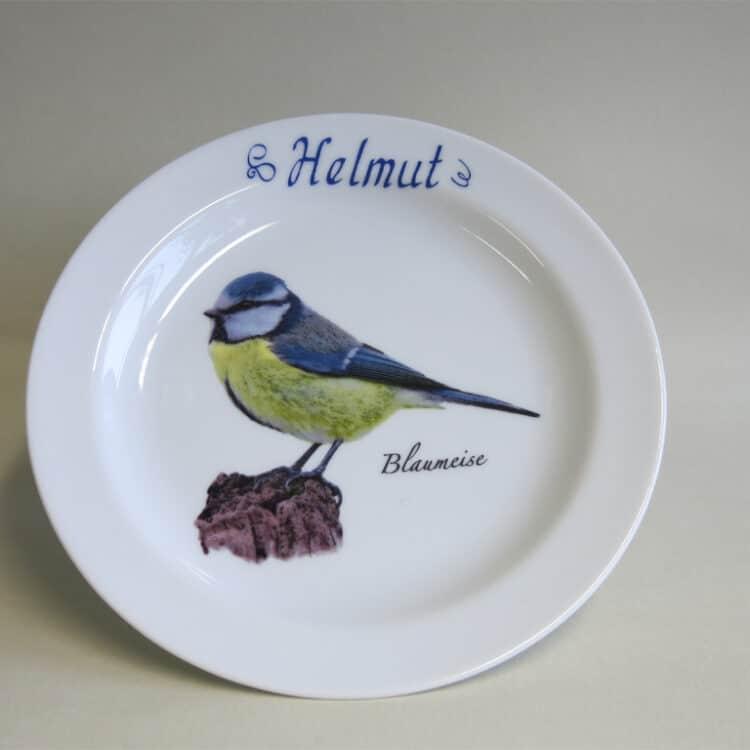 Frühstücksgeschirr Porzellan flacher Teller 19cm mit Blaumeise und Namen
