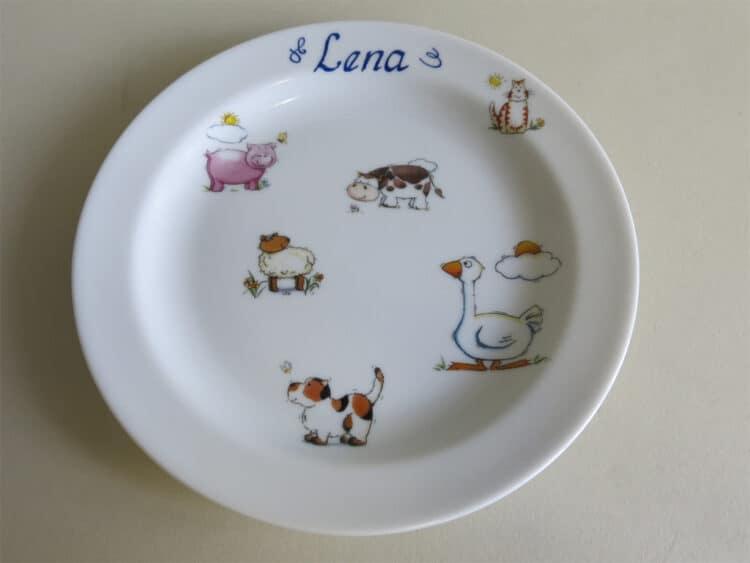 Personalisierter Frühstücksteller mit Bauernhoftieren und Gans
