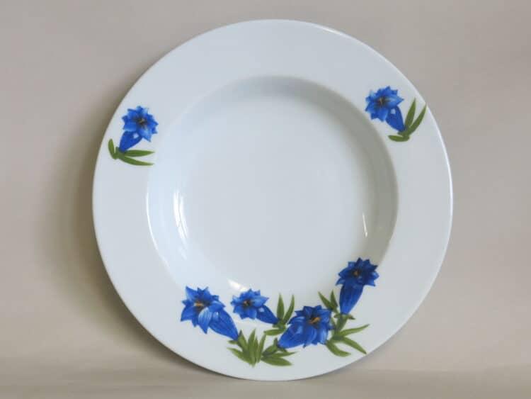 Tiefer Porzellanteller, Suppenteller Opty mit blauem Enzian