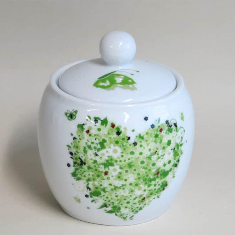 Frühstücksgeschirr Porzellan Zuckerdose 0,25ml mit Frühlingsherz