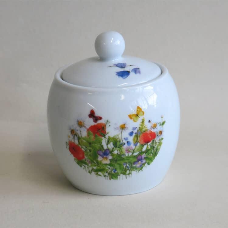 Porzellan Zuckerdose mit Mohnwiese
