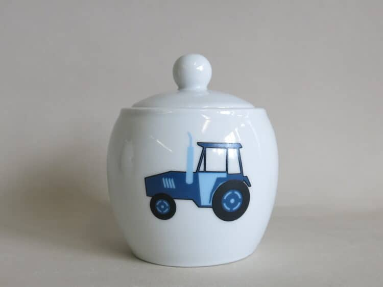 Porzellan Zuckerdose Traktor