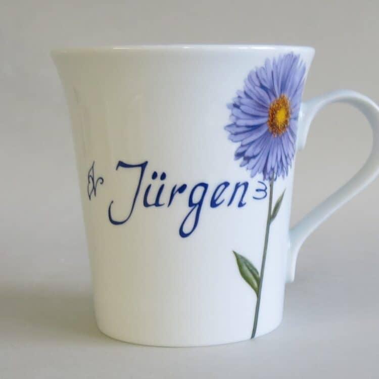Namenstasse Porzellan eleganter Becher Emma mit lila Aster und Namen