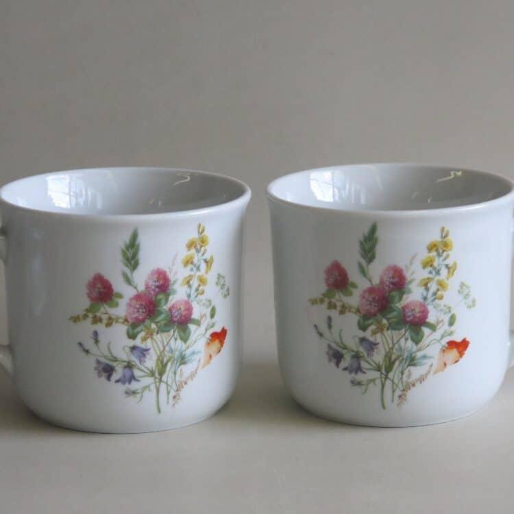 Frühstücksgeschirr feuerfester Porzellan Becher Hotpot 650 ml, Wiesenblumen Klee und Mohnblume