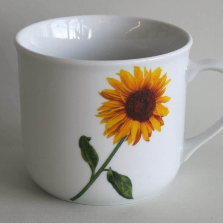 Frühstücksgeschirr feuerfester Porzellan Becher Hotpot 650 ml, Sonnenblume