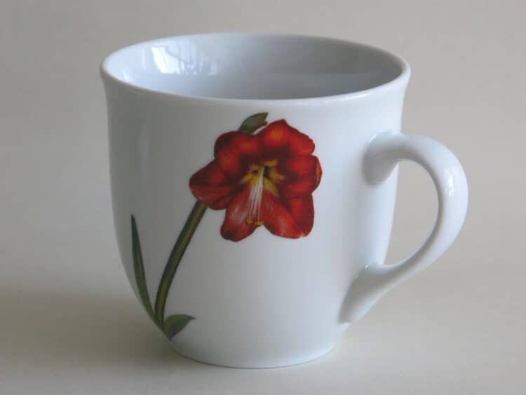 Frühstücksgeschirr Porzellan großer Becher 400ml mit moderner Blume Amaryllis