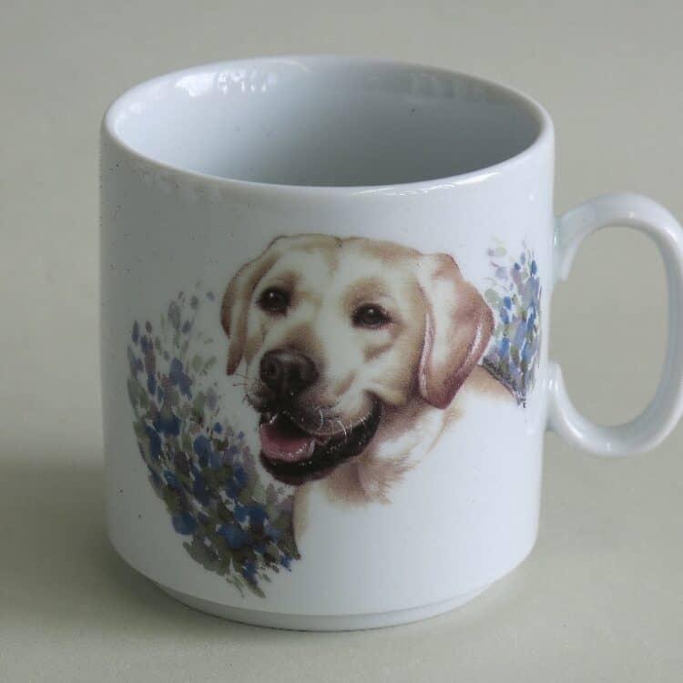 Namenstasse Porzellan gerader Becher Lukas 260ml mit Labrador gold